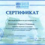 Сертификат Есипович М. И. 2017