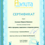 Сертификат Марины Есипович Аэлита 2017