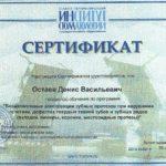 Сертификат Дениса Остаева 2018