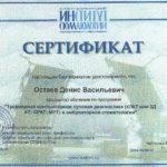Сертификат Дениса Васильевича Остаева