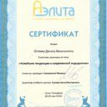 Сертификат Дениса Остаева Аэлита